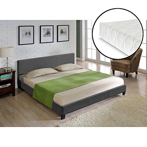 Corium® Hochwertiges Bett aus Stoff 140x200cm dunkelgrau 100% Polyester + Matratze