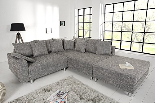 design ecksofa mit hocker loft strukturstoff grau federkern sofa ottomane beidseitig aufbaubar. Black Bedroom Furniture Sets. Home Design Ideas