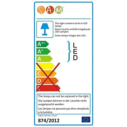 SAM® LED-Boxspringbett 180x200 cm Leon, Kunstleder weiß, Nosagfederkern, H3 Bonellfederkern-Matratze, Kaltschaum-Topper