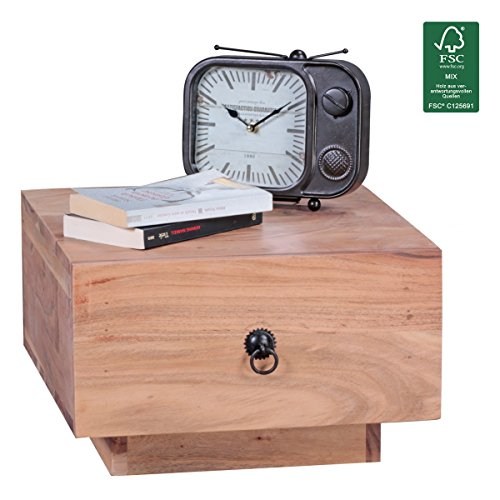 FineBuy Design Nachttisch Massiv-Holz Sheesham 40x40x25 cm   Moderne Nacht-Kommode mit Schublade   Nachtschrank Natur-Holz Nachtkonsole
