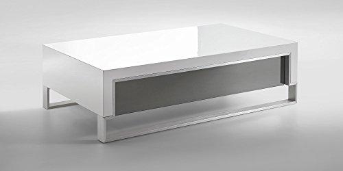 Couchtisch weiß Hochglanz mit Schublade Virgio 120x70cm Wohnzimmertisch