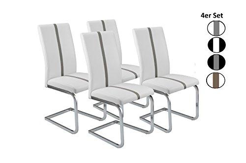Cavadore Schwingstuhl 4er Set Enzo / Freischwinger ohne Armlehne in modernem Design / Lederimitat / Stuhlset Weiß mit grauer Applikation / 52 x 43 x 100 cm (L x B x H)