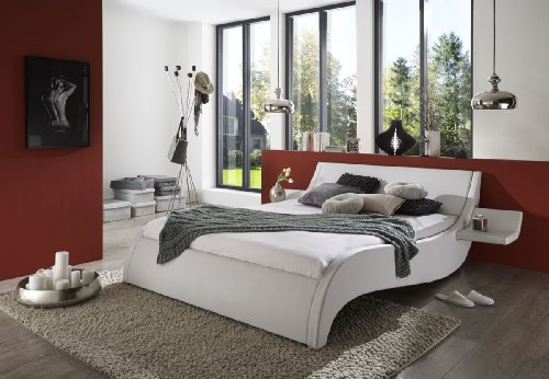 sam polsterbett 180 200 cm murcia wei bett mit gepolstertem kopfteil modernes design m bel24. Black Bedroom Furniture Sets. Home Design Ideas
