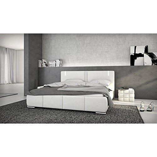 innocent polsterbett aus kunstleder wei 180x200cm mit led und lautsprecher ricci mit matratze. Black Bedroom Furniture Sets. Home Design Ideas
