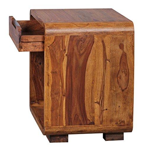 WOHNLING Design Nachttisch Massivholz Sheesham Nacht-Kommode 50 cm mit Schublade Boxspringbett Nachtköstchen Natur-Holz massiv dunkel-braun Nachtkonsole Landhaus-Stil Schlafzimmer-Möbel Nachtschrank