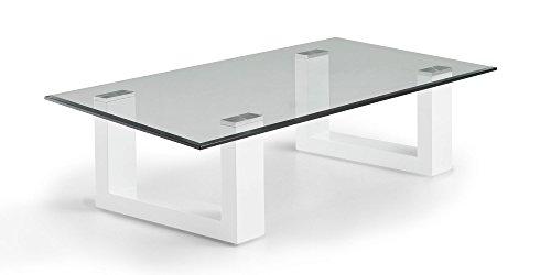 Couchtisch weiß Hochglanz Amora 120x70cm Glastisch