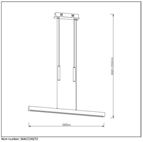 Lucide Geena-Pendelleuchten-Leddim. -1 X 30W 2700K, Metall, Integriert, 30 W, Holz, 100 x 8 x 155 cm