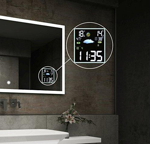 Design Badspiegel mit LED Beleuchtung Wandspiegel Badezimmerspiegel mit Touch Schalter und Wetterstation