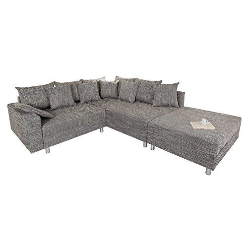 design ecksofa mit hocker loft strukturstoff grau federkern sofa ottomane beidseitig aufbaubar. Black Bedroom Furniture Sets. Home Design Ideas