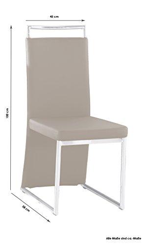 Cavadore 4-er Set Scarlett / Stühle ohne Armlehne in modernem Design / Lederimitat / Stuhlset Cappuccino / 58 x 45 x 100 cm (T x B x H)