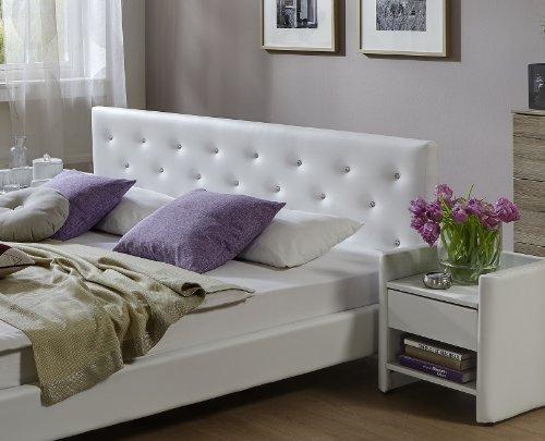 SAM® Polsterbett Adonia weiß 180 x 200 cm Kopfteil abgesteppt Ziersteine silber lackierte Metallfüße