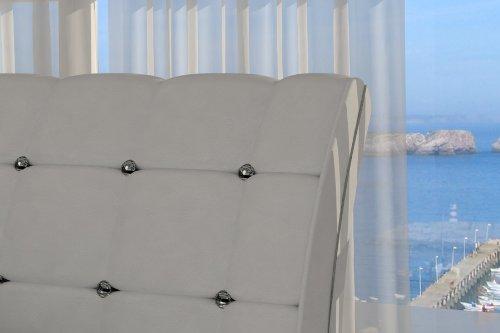 SAM® Polsterbett Bett Vederi in weiß 180 x 200 cm Kopfteil im abgesteppten modernen Design abgesteppt Ziersteine Wasserbett geeignet