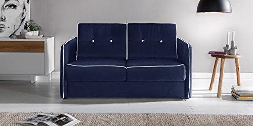 Schlafsofa Merina Grau Blau Weiß Mikrofaser Stoff Sofa Couch Schlafcouch mit Federkern Bettfunktion (Blau)