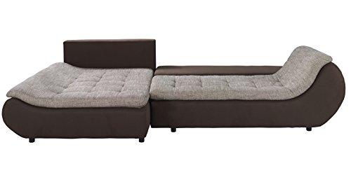 Polsterecke Sofa mit Schlaffunktion PRATO Schlafsofa Schlafcouch Kunstleder Webstoff Bettfunktion