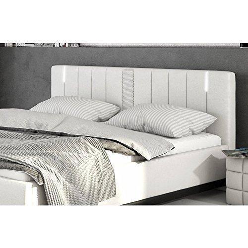 Innocent Polsterbett aus Kunstleder weiß 180x200cm mit LED und Lautsprecher Benton mit Matratze