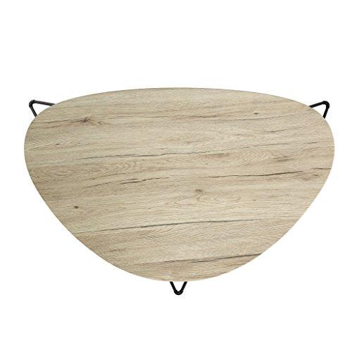 AUSVERKAUF!!! bonVIVO® Design-Couchtisch CHARLES, Beistelltisch/ Nierentisch im 50er Jahre Retro-Look in Holz-Optik und Metall-Füßen in schwarz/ black (60 x 40 cm)