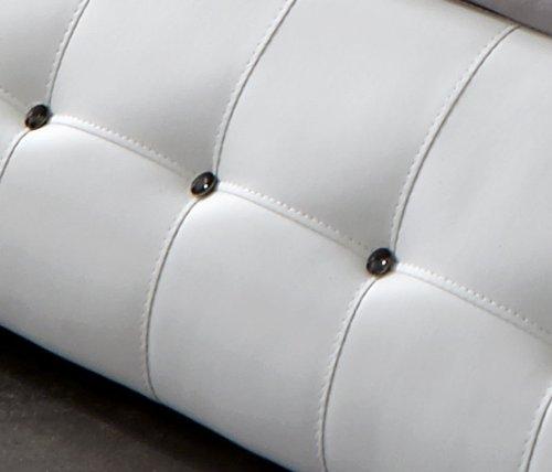 SAM® Polsterbett Mood in weiß 180 x 200 cm geschwungene Seitenteile Kopfteil gepolstert Seitenteile mit Ziersteinen im abgesteppten Design Wasserbett geeignet Bett