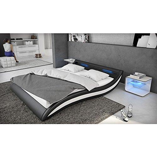 Polster-Bett 140x200 cm schwarz-weiß aus Kunstleder mit blauer LED-Beleuchtung | Accentox | Das Kunst-Leder-Bett ist ein edles Designer-Bett | Doppel-Bett 140 cm x 200 cm mit Lattenrost in Leder-Optik, Made in EU