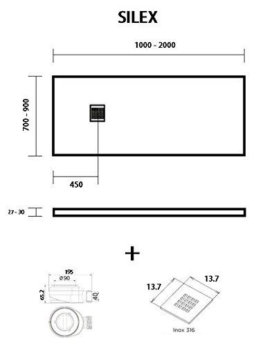 Duschwanne, Silex - Harz Duschwanne, flach schwarz graphit RAL 9005, Schwarz-Graphit, 80X160