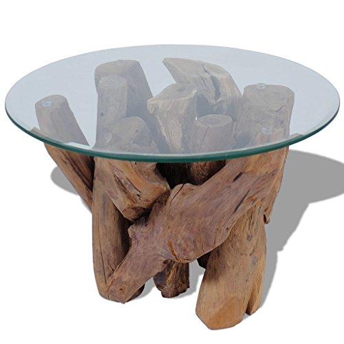 vidaXL Teak Treibholz Massivholz Couchtisch Beistelltisch mit Glasplatte 60cm