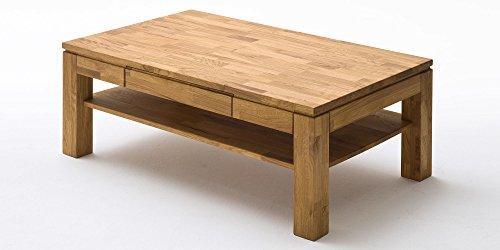Couchtisch Holz Massiv Eiche mit Schublade Massivholz Wohnzimmer Tisch Asteiche Julian