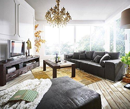 Bigsofa Marbeya Anthrazit 285x115 cm Antik Optik inklusive Hocker Big Sofa