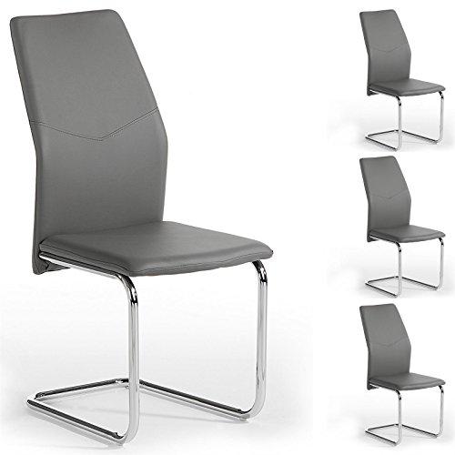 4er Set Schwingstuhl Esszimmerstuhl Freischwinger LEONA, Lederimitta in grau, Metall verchromt