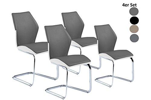 Cavadore Schwingstuhl Snap / Freischwinger ohne Armlehne in modernem Design / Lederimitat / 4 Stühle Grau/Weiß / 45 x 90 x 61 cm (BxHxT) / 4er Set