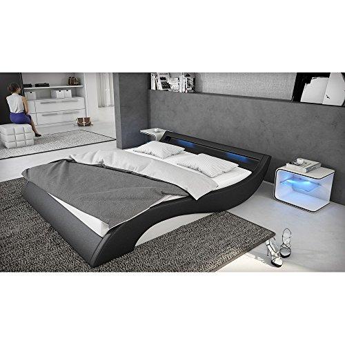 polster bett 180x200 cm schwarz wei aus kunstleder mit. Black Bedroom Furniture Sets. Home Design Ideas
