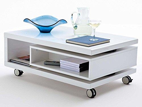 Couchtisch weiß Hochglanz mit Schublade Angela 90-120x60cm Wohnzimmertisch