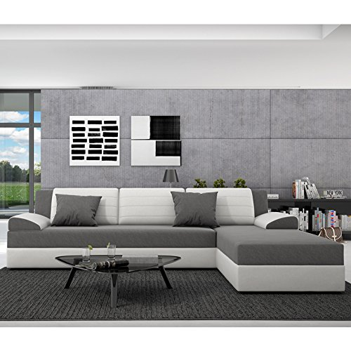 innocent ecksofa mit schlaffunktion aus kunstleder wei und sitzfl che textil grau rasasy. Black Bedroom Furniture Sets. Home Design Ideas