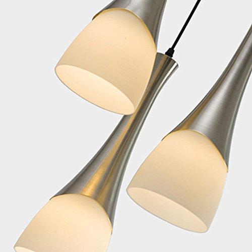 Pendelleuchte Leuchte Modern Design Hängeleuchte Metal und Glass Küchenlampe Pendelleuchten Kronleuchter 3 Lights E27 deco lampe Max 40W Höhenverstellbar für Büro Wohnzimmer Schlafzimmer Küche Weiß (Leuchtmittel nicht enthalten)