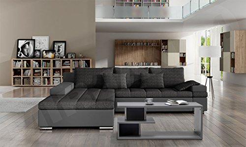 Design Ecksofa Bangkok, Moderne Eckcouch mit Schlaffunktion und Bettkasten, Ecksofa für Wohnzimmer, Gästezimmer, Couch L-Form, Wohnlandschaft, (Ecksofa Links, Soft 029 + Majorka 03)