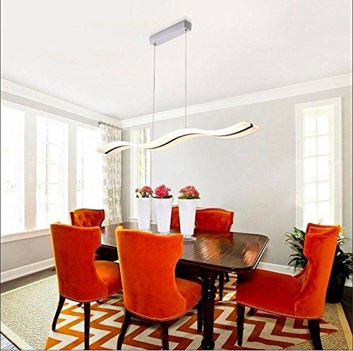 Vi-xixi LED Pendelleuchte Dimmbar Moderne Kronleuchter Deckenleuchten Höhenverstellbar Fernbedienung für Esszimmer Wohnzimmer, Wellenform, 3 Farben Cool White + Neutral White + Warm White