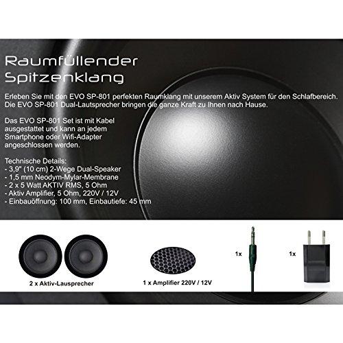 Innocent Polsterbett aus Kunstleder weiß 180x200cm mit LED und Lautsprecher Caspani mit Matratze