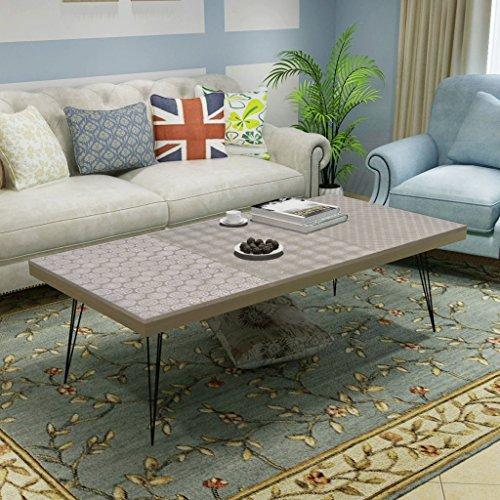 vidaXL Couchtisch Beistelltisch Kaffeetisch Wohnzimmertisch Retro Design grau