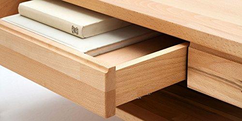 Couchtisch Holz Massiv Buche mit Schublade Massivholz Wohnzimmer Tisch Kernbuche Julian