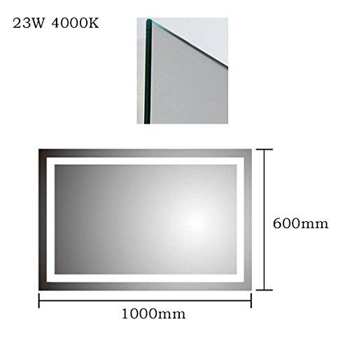 Anten® Elegant 23W LED Spiegelleuchte 3000K Warmweiß IP65 LED Wand Spiegel mit Beleuchtung 100x60cm Eckig