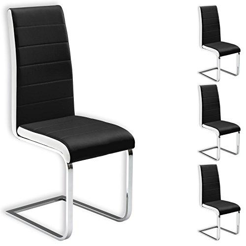 Freischwinger Esszimmerstuhl Küchenstuhl Stuhlgruppe EVELYN, 4er Pack, Lederimitat schwarz
