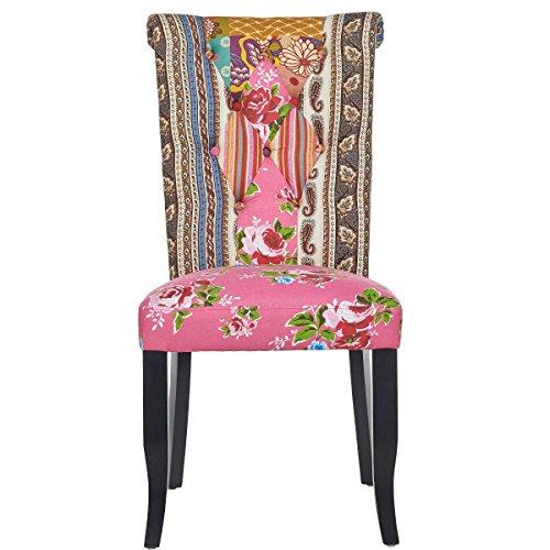 BUTLERS PATCH Patchwork-Stuhl - Patchwork - Stuhl - Farbenfroh - Barock Stil - Unterschiedliche Muster - feminine Farben