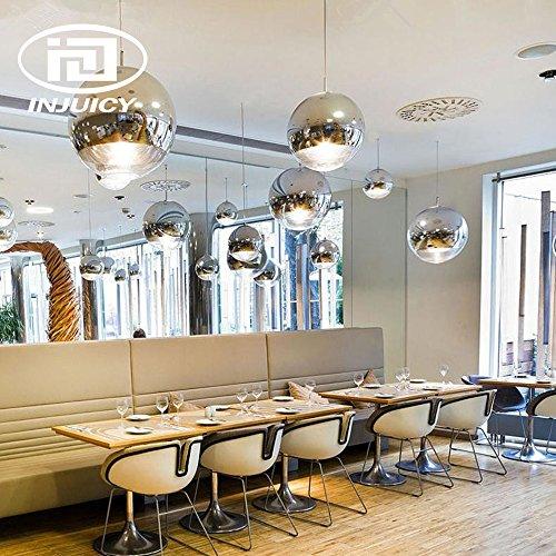 Injuicy Lighting Tom Dixon Modernen E27 LED Glas Kugel Pendelleuchten Hängelampe Silber Galvanisieren Deckenleuchte Kronleuchter Hängenden Lampen Energiesparlampe Bar Schlafzimmer Cafés Restaurants Wohnzimmer Innenleuchte Küchenlampe Im Art-Déco Geschenk (Durchmesser 250mm)