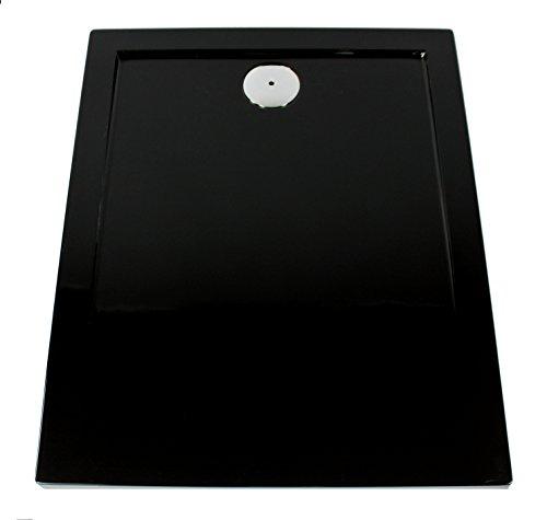 Art-of-Baan® - Extra flache Duschtasse, Duschwanne aus Acryl glatt schwarz Hochglanz; 100x80x3,5cm inkl. Ablaufgarnitur