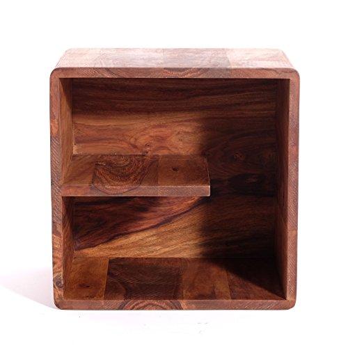 "CUBE REGAL ""AUTHENTICO ""UNO"" | 40 cm; Sheesham Holz | Holzregal, Dekoration"