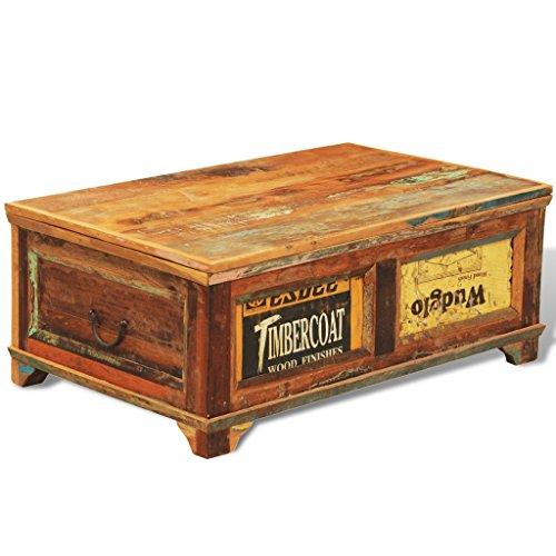 vidaXL Antik Teak Massivholz Aufbewahrung Box Couchtisch Truhe Shabby Vintage Retro