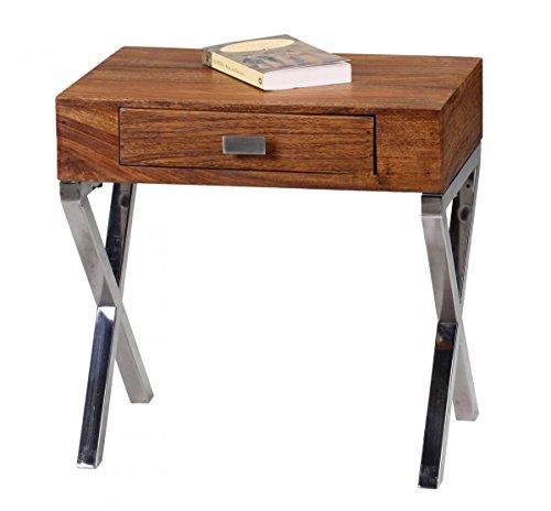 Nachttisch Massiv-Holz Sheesham Nacht-Kommode 45 cm 1 Schublade Metallbeine Nachtschrank Landhaus Echt-Holz