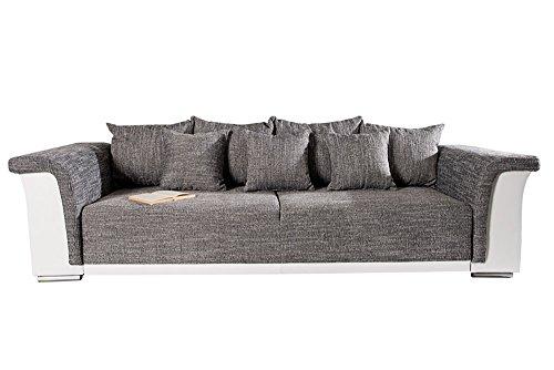Design Big XL Sofa BELLINA hellgrau Strukturstoff weiß Schlaffunktion Federkern