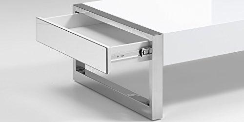 Couchtisch weiß Hochglanz Chrome Schubkasten Anzio 120x70cm Spiegelblende