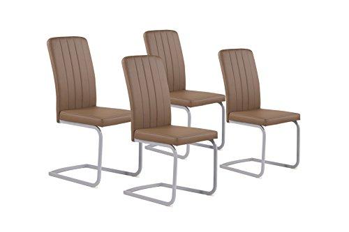 "Cavadore Stuhl Set ""Svea"" / 4 Esszimmer Stühle ohne Armlehne in edlem Design / Lederimitat / Stühle Braun: 44x98,5x57cm (BxHxT)"