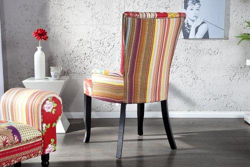 Design Patchwork Stuhl IBIZA mehrfarbig Textil mit Armlehne Polsterstuhl Sessel Wohnzimmer Baumwolle