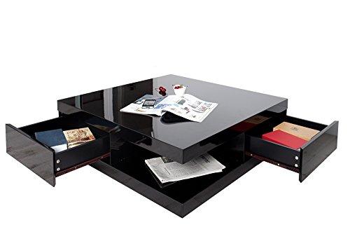 Edler Design Couchtisch FUNCTION schwarz Hochglanz 2 Schubladen